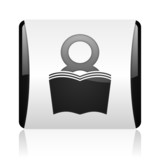 book black and white square web glossy icon