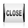 close black and white square web glossy icon