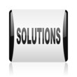 solutions black and white square web glossy icon