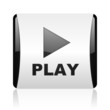 play black and white square web glossy icon