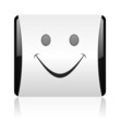 smile black and white square web glossy icon