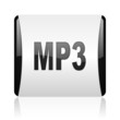 mp3 black and white square web glossy icon