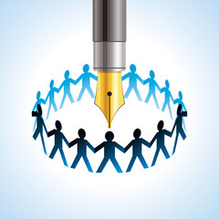 round of peoples. Team and union metaphor with pen