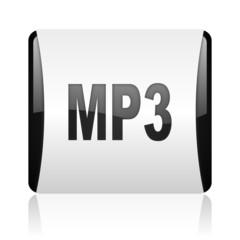 mp3 black and white square web glossy icon