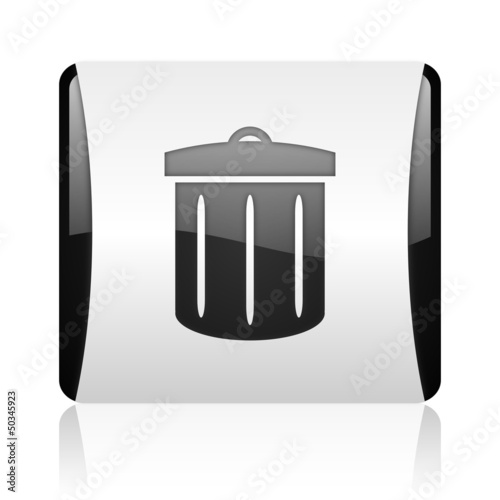 recycle black and white square web glossy icon