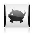 piggy bank black and white square web glossy icon