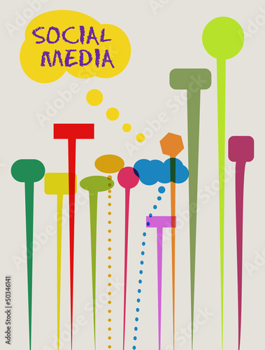 social networks and media concept, speech bubbles, vector