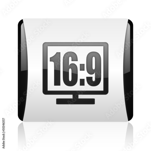 16 9 display black and white square web glossy icon