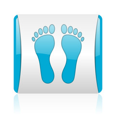 footprint blue and white square web glossy icon
