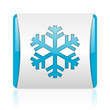 snowflake blue and white square web glossy icon