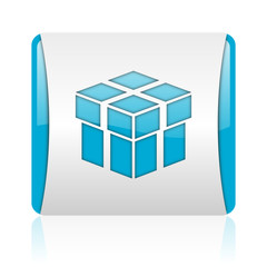 box blue and white square web glossy icon