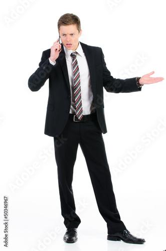 telefonierender kaufmann ist sauer
