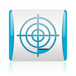 target blue and white square web glossy icon