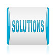 solutions blue and white square web glossy icon