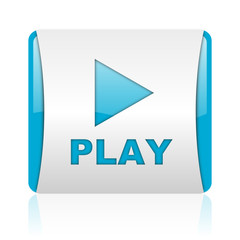 play blue and white square web glossy icon