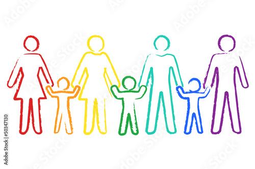 Regenbogenfamilie, Buntstiftzeichnung