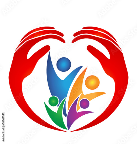 Family protected by hands in heart shape logo vector