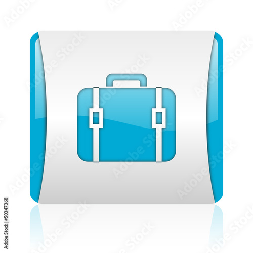 baggage blue and white square web glossy icon