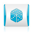 dice blue and white square web glossy icon