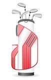 bag of golf clubs vector illustration