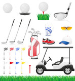 set golf icons vector illustration