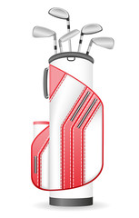 bag of golf clubs vector illustration