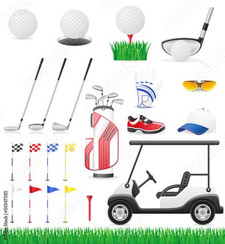set golf icons vector illustration
