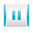pause blue and white square web glossy icon