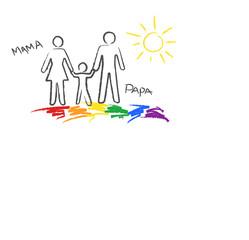 """Familie, """"Mama+Papa"""" Kinder- Buntstiftzeichnung"""