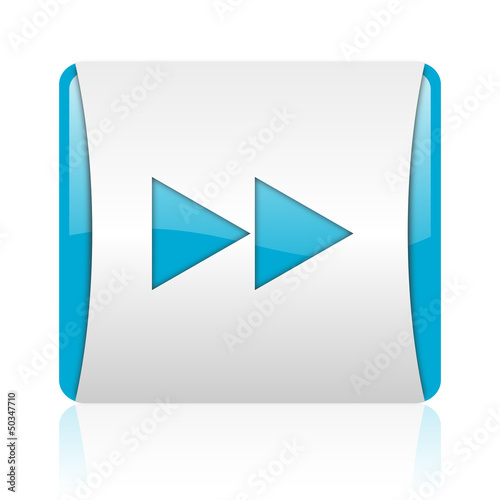 scroll blue and white square web glossy icon