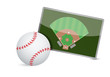 Постер, плакат: Baseball field tactic table Baseball balls