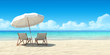 canvas print picture - Chaise lounge and umbrella on sand beach.