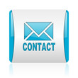 contact blue and white square web glossy icon