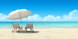 Chaise lounge and umbrella on sand beach. - 50347973