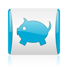 piggy bank blue and white square web glossy icon