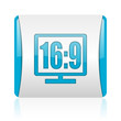 16 9 display blue and white square web glossy icon