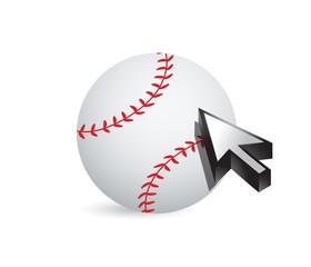 Baseball ball with cursor arrow - sport shopping