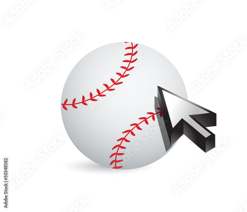 Baseball ball with cursor arrow - sport shopping