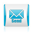 send blue and white square web glossy icon