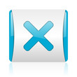 cancel blue and white square web glossy icon