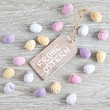 """Tag with """"Frohe Ostern"""" and colorful eggs"""