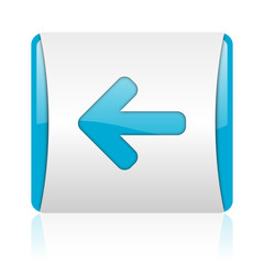 arrow left blue and white square web glossy icon