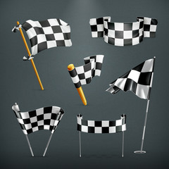 Checkered flags, vector set