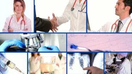 medical doctors collage on blue