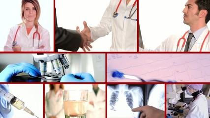 medical doctors collage on red