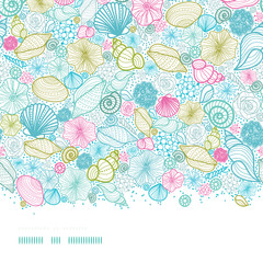 Vector seashells line art horizontal seamless pattern background