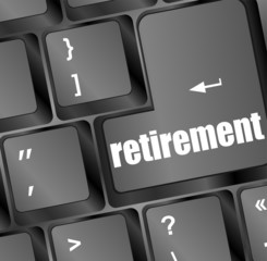retirement for investment concept with a button on keyboard