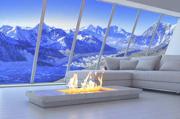 White 3D interior room with fireplace and mountain range view