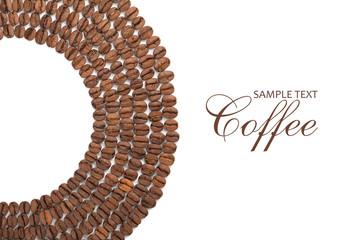 Coffee beans spread in circle on white background