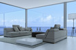 3D Living Room Interior with seascape view